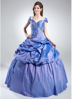 De baile Sem o ombro Longos Tafetá Vestido quinceanera com Pregueado Bordado (021016022)
