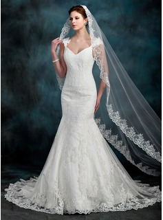 One-tier Cathedral Bridal Veils With Lace Applique Edge (006022608)