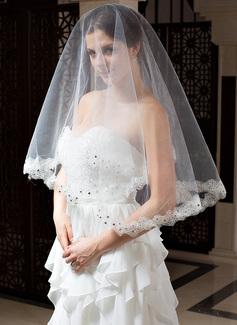 Einschichtig Fingerspitze Braut Schleier mit Spitze Saum (006035828)