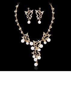 Бабочка фасонный сплав/жемчуг с хрусталь женские Комплекты ювелирных изделий (011027559)