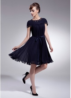 Vestidos princesa/ Formato A Decote redondo Coquetel De chiffon Vestido de boas vindas com Bordado Curvado Plissada (022009008)