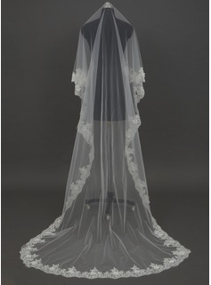 One-tier Cathedral Bridal Veils With Lace Applique Edge (006034456)