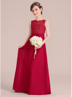 A-Line/Princess Floor-length Flower Girl Dress - Chiffon/Lace Sleeveless Scoop Neck With Bow(s) (010136599)
