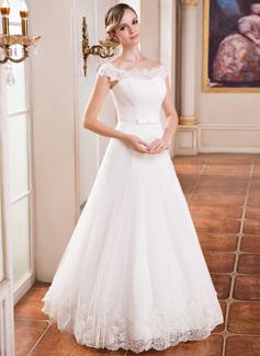 A-Linie/Princess-Linie Off-the-Schulter Bodenlang Tüll Brautkleid mit Rüschen Lace Perlstickerei Pailletten (002041151)