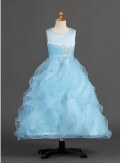 A-Line/Princess Ankle-length Flower Girl Dress - Organza/Satin Sleeveless Scoop Neck With Ruffles/Beading (010007297)
