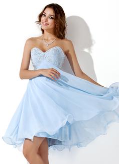 Império Amada Coquetel Tecido de seda Vestido de boas vindas com Bordados Beading lantejoulas (022020904)