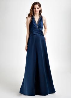 A-linjainen/Prinsessa V-kaula-aukko Tee Pituus Satiini Morsiusneitojen mekko jossa Rypytys Helmikuvoinnit (007001728)
