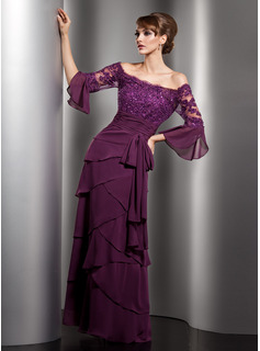 A-Line/Princess Off-the-Shoulder Floor-Length Chiffon Mother of the Bride Dress With Lace Beading Sequins Bow(s) Cascading Ruffles (008005753)