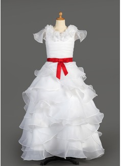Vestidos princesa/ Formato A Longos Vestidos de Menina das Flores - Tafetá/Organza de Sem magas Decote redondo com Pregueado/Cintos/fecho de correr/Curvado (010007627)