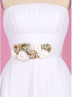Elegant Taffeta/Organza Sash With Flower (015003400)