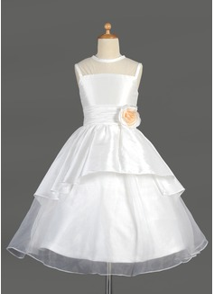 Vestidos princesa/ Formato A Comprimento médio Vestidos de Menina das Flores - Tafetá/Organza de Sem magas Decote redondo com Renda/fecho de correr (010014644)