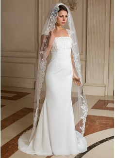 One-tier Chapel Bridal Veils With Lace Applique Edge (006024463)