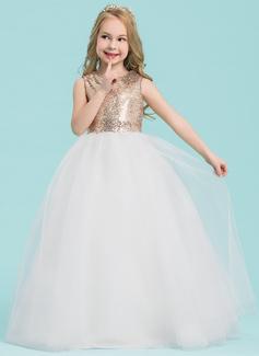Ball Gown Floor-length Flower Girl Dress - Tulle/Sequined Sleeveless Scoop Neck (010143268)