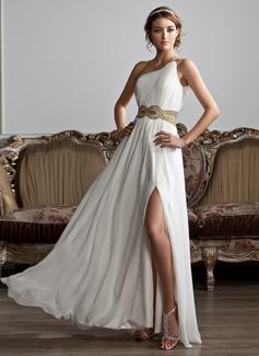 Vestidos princesa/ Formato A Um ombro Longos Tecido de seda Vestido de baile com Pregueado Beading lantejoulas Frente aberta (018020706)