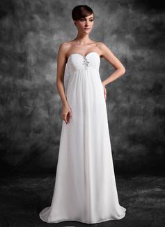 Império Amada Sweep/Brush trem Tecido de seda Vestido para madrinha grávida com Pregueado Renda Beading lantejoulas (045022472)