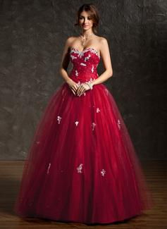 Tanssiaismekot Kultaseni Lattiaa hipova pituus Tylli Quinceanera mekko jossa Rypytys Helmikoristelu Applikaatiot Pitsi Paljetit (021004666)