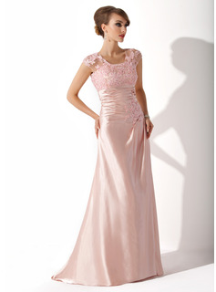 A-Line/Princess Scoop Neck Sweep Train Charmeuse Mother of the Bride Dress With Ruffle Beading Appliques Lace Sequins (008005616)