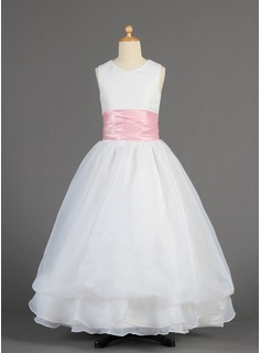 A-Line/Princess Floor-length Flower Girl Dress - Organza/Charmeuse Sleeveless Scoop Neck With Sash (010014615)