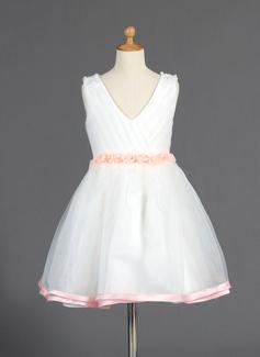 Vestidos princesa/ Formato A Coquetel Vestidos de Menina das Flores - Organza de/Charmeuse Sem magas Decote V com Beading/fecho de correr (010014664)