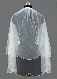 2 couches Voile de mariée longueur bout des doigts avec Bord équilibre de sequin (006052981)