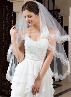 Einschichtig Fingerspitze Braut Schleier mit Spitze Saum (006035789)