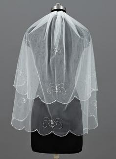 Duas camada Cotovelo véus nupciais com Borda enfeitada (006052959)