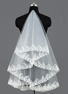 Uma camada Valsa nupcial véus com Borda com aplicação de renda (006052974)