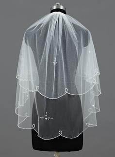 Due strati Velare da sposa gomito con Bordo ricamato/Bordo paillette trim (006035451)