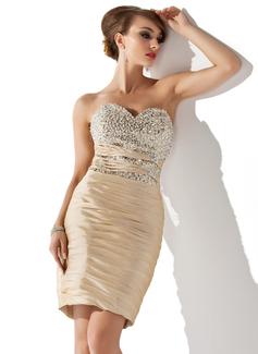Платье-чехол возлюбленная Длина до колен Тафта Коктейльные Платье с Рябь развальцовка блестки (016008490)