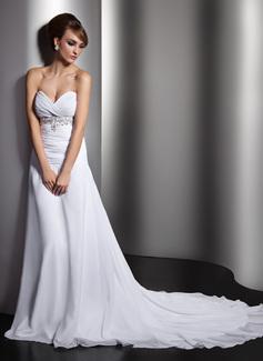Corte A/Princesa Escote corazón Cola capilla Chifón Vestido de novia con Volantes Bordado Lentejuelas (002011407)