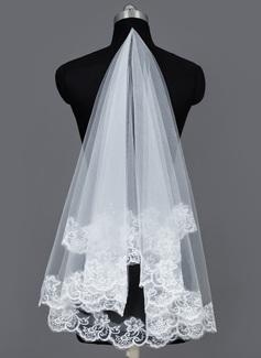 Een-rij Wals Bruids Sluiers met Lace Stoffen Rand (006034186)