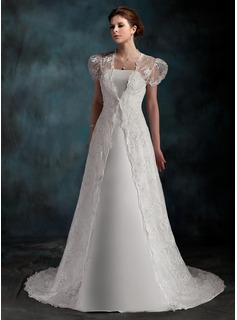 A-Line/Princess Strapless Court Train Satin Wedding Dress (002001254)