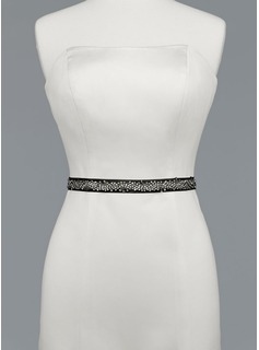 Simple Satin Sash With Beading (015012860)