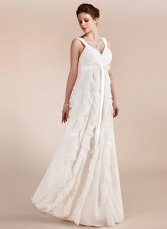 Empire Sweetheart Floor-Length Chiffon Wedding Dress With Bow(s) Cascading Ruffles (002011682)