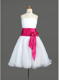 A-Line/Princess Knee-length Flower Girl Dress - Organza/Charmeuse Sleeveless Straps With Sash/Bow(s)/Rhinestone (010005774)