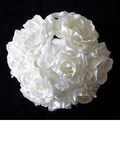 Pure White Round Satin Bridal Bouquets (123031422)