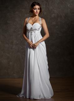 Empire Sweetheart Sweep Train Chiffon Wedding Dress With Ruffle Beading (002011570)