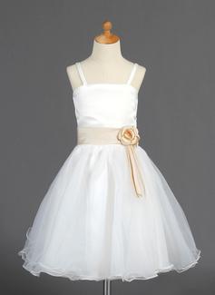 Vestidos princesa/ Formato A Coquetel Vestidos de Menina das Flores - Organza de/Cetim Sem magas com Cintos/fecho de correr (010014663)