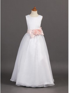 A-Line/Princess Floor-length Flower Girl Dress - Organza/Satin Sleeveless Scoop Neck With Flower(s)/Bow(s) (010005795)