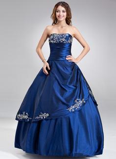 Vestidos princesa/ Formato A Sem Alças Longos Tafetá Vestido quinceanera com Bordados Pregueado Bordado (021017120)