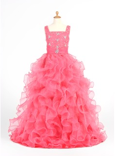 Ball Gown Floor-length Flower Girl Dress - Organza/Satin Sleeveless Straps With Ruffles/Beading (010005873)