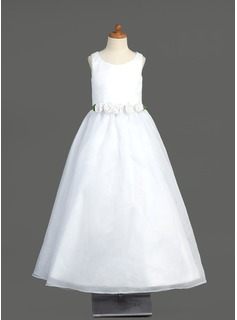 A-Line/Princess Floor-length Flower Girl Dress - Organza Sleeveless Scoop Neck With Flower(s) (010005904)