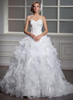 De baile Coração Cauda de sereia Cetim Organza de Vestido de noiva com Bordado Lantejoulas Babados em cascata (002004530)