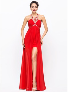 A-Line/Princess Halter Asymmetrical Chiffon Prom Dresses With Ruffle Beading Sequins (018056708)