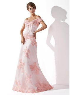 Trumpet/Mermaid Off-the-Shoulder Floor-Length Tulle Mother of the Bride Dress With Beading Appliques Lace (008005758)