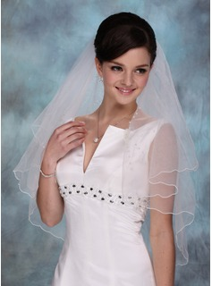 One-tier Elbow Bridal Veils With Scalloped Edge (006020350)