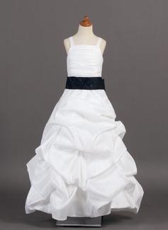 A-Lijn/Prinses Vloer lengte Bloemenmeisjesjurken - Taft Mouwloos met Roes/Ceintuurs/Pick-Up Rok (010005776)