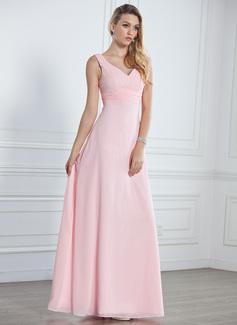 С завышенной талией V-образный Длина до пола шифон Платье Подружки Невесты с Рябь (007001785)