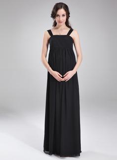 Império Decote quadrado Longos Tecido de seda Vestido para madrinha grávida com Pregueado (045004392)