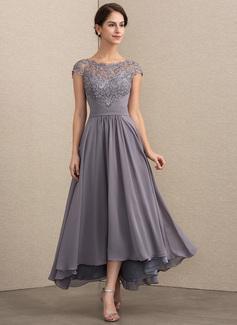 Corte A Decote redondo Assimétrico Tecido de seda Renda Vestido de festa (017192576)